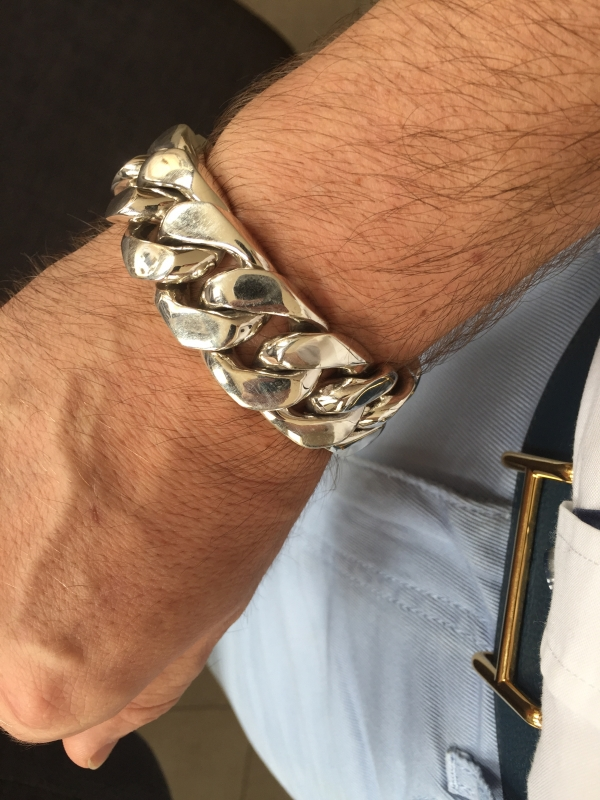 25mm Huge Mens Silver Curb Bracelet