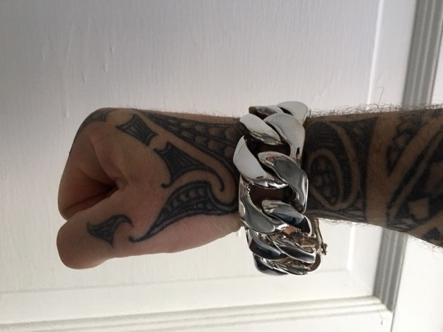 30mm Huge Mens Silver Curb Bracelet