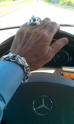 Snake Bracelet with Skulls Toggle Clasp