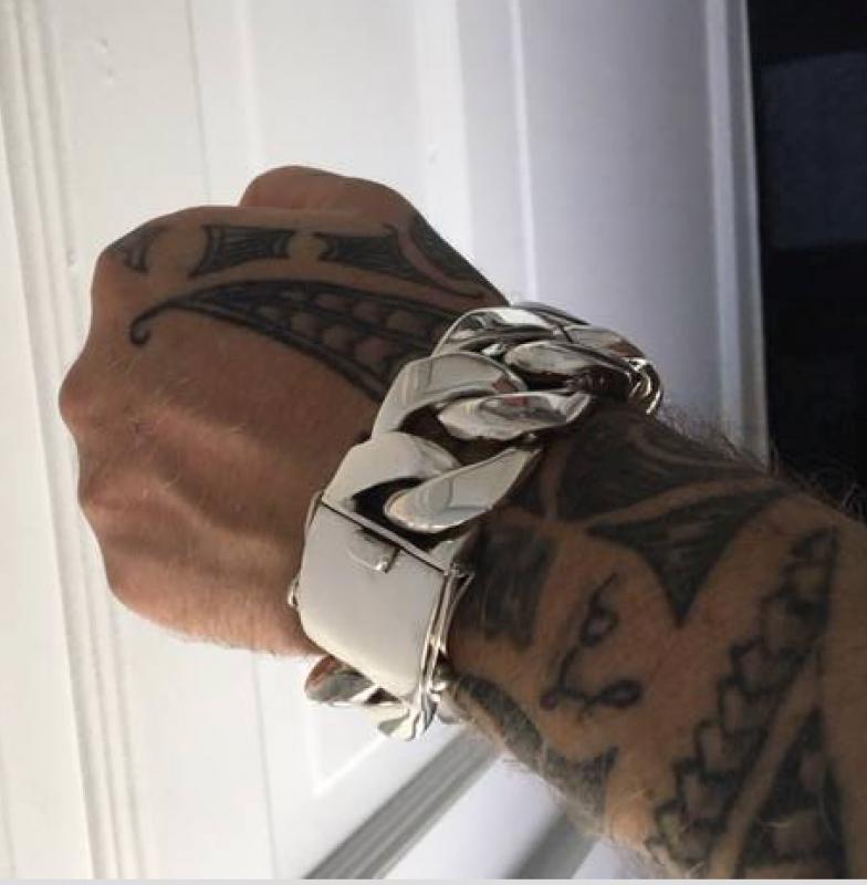 heaviest mens silver curb link bracelet