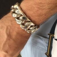 25mm Huge Mens Silver Curb Bracelet