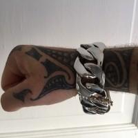 30mm Huge Mens Silver Curb Bracelet