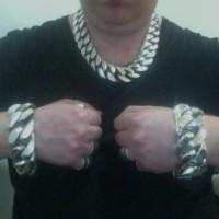35mm Huge Mens Silver Curb Bracelet