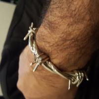 Silver Barb Wire Bangle