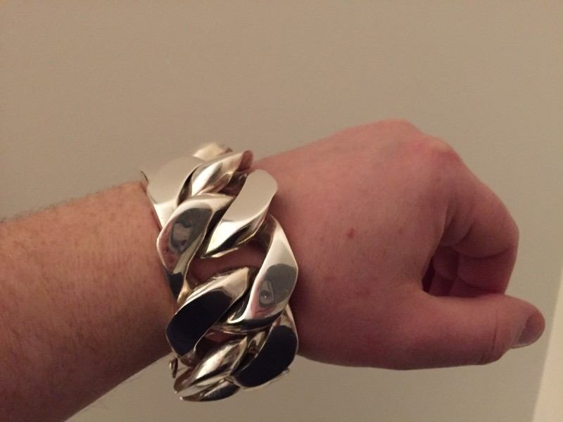 35mm Huge Mens Silver Curb Bracelet