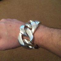 40MM Huge SIlver Curb Bracelet