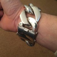 40MM Huge SIlver Curb Bracelet