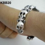Heavy Silver Skull Cuff Bangle