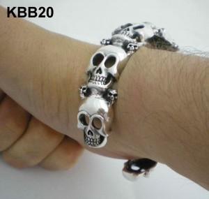 Heavy Silver Skull Cuff Bangle