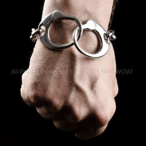 Mens Silver Handcuff Bracelet