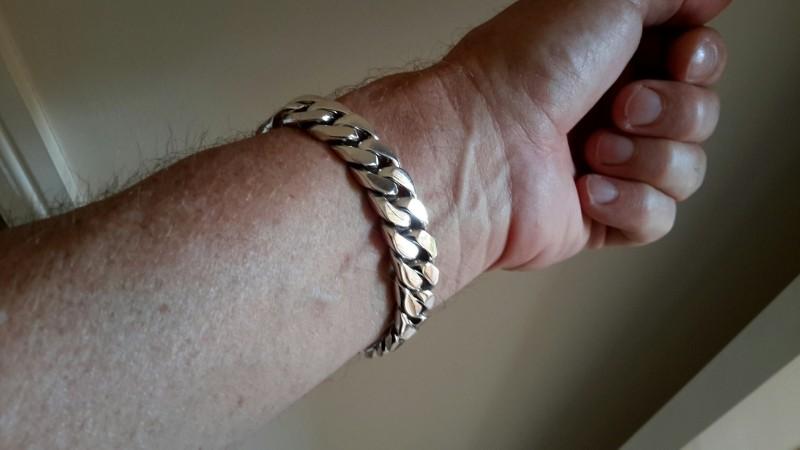 15mm Mens Silver ID Bracelet trev oz-2