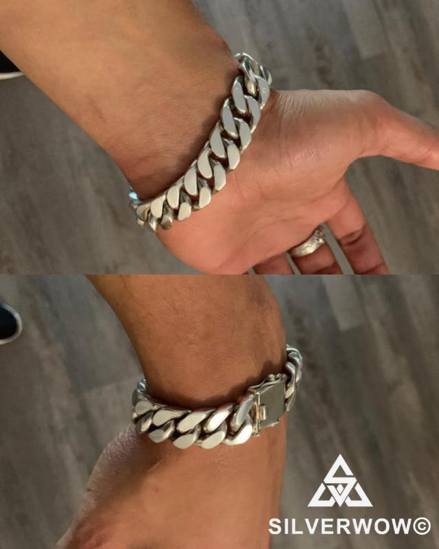 15MM Heavy Sterling Silver Curb Bracelet worn by Jahmai | BY Silverwow
