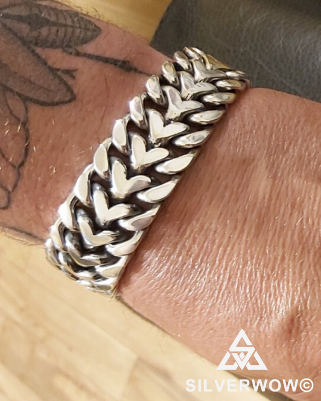 Maciek wearing a 25MM Herringbone Bracelet for Men