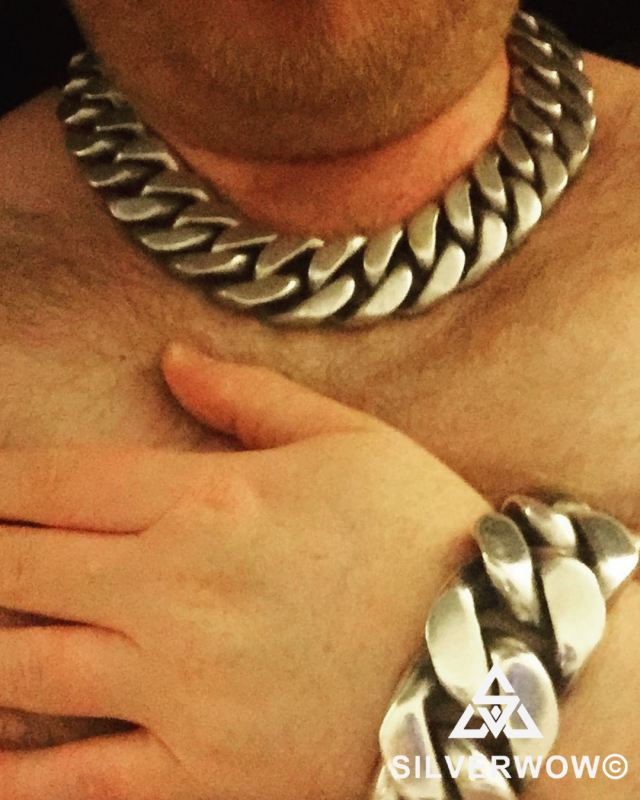 Super Chunky and Heavy 20MM Curb Bracelet and Necklace sent by customer | BY Silverwow