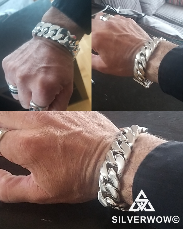 Jason with 20MM Wide, Fat, Chunky Curb Bracelet for Men | BY Silverwow