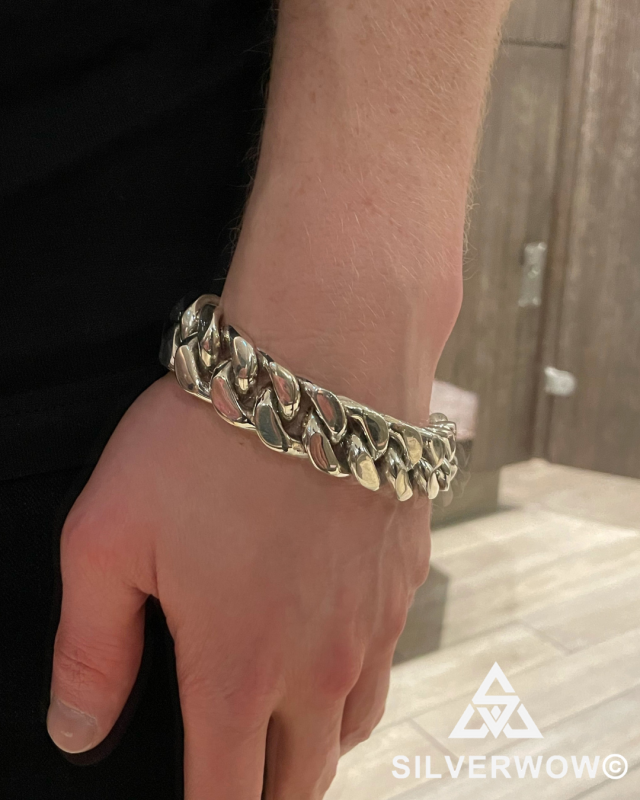 Luke with our 20MM Heavy Curb Silver Bracelet for Men | BY Silverwow