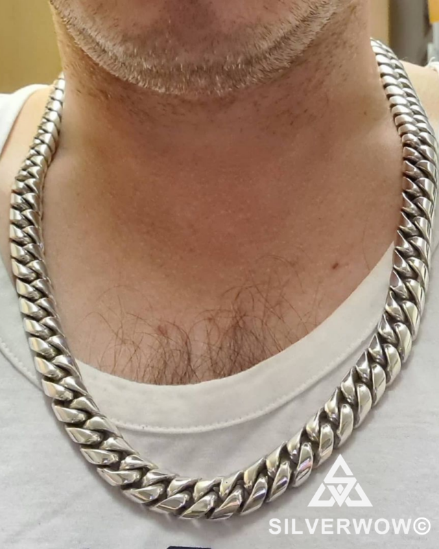 25MM Sterling Silver Cuban Chain Necklace for Men | BY Silverwow