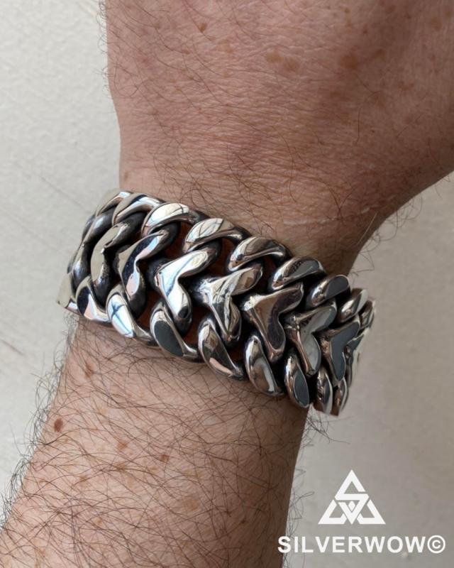 G wearing our Super Chunky Herringbone Bracelet | BY Silverwow