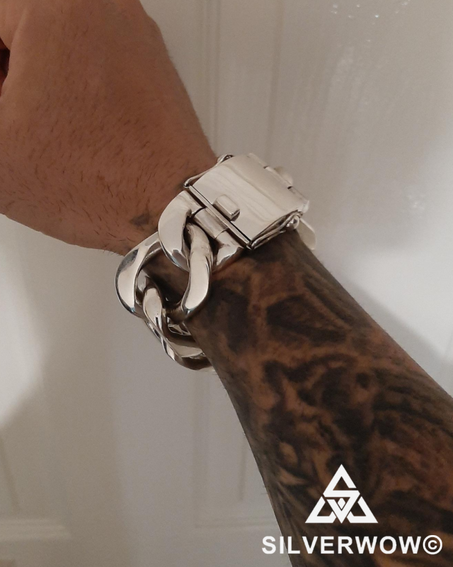 6 Link Heavy, Massive and Chunky Wide Link Bracelet by Hriston.