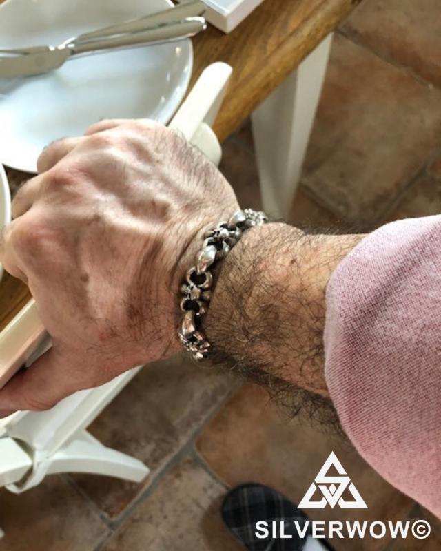 Bad Ass Bone Skull Bracelet worn by a customer from Sweden | BY Silverwow