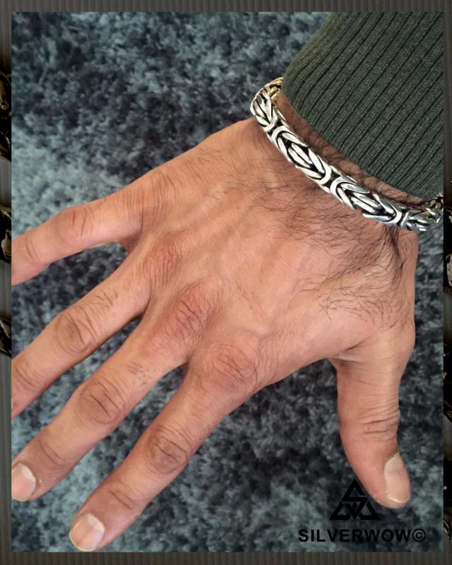 Unusual, Heavy duty Bali Byzantine Bracelet for Men | BY Silverwow