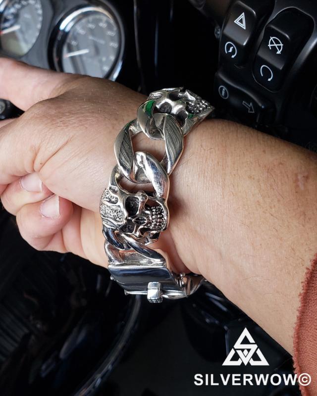 Rodney sent in KBB24 9 Inch Skull Curb Bracelet for Men | BY Silverwow