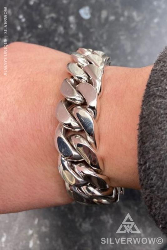 20MM Curb Link bracelet for Men | BY Silverwow