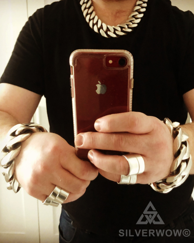 Super Chunky Curb Bracelet and Necklace for Men sent by Jay Silver | BY Silverwow