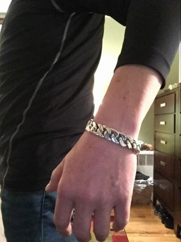 15mm Heavy Curb Silver Bracelet