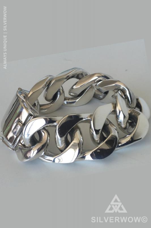 ID Plate Curb Wide Link Bracelet for Men | BY SIlverwow