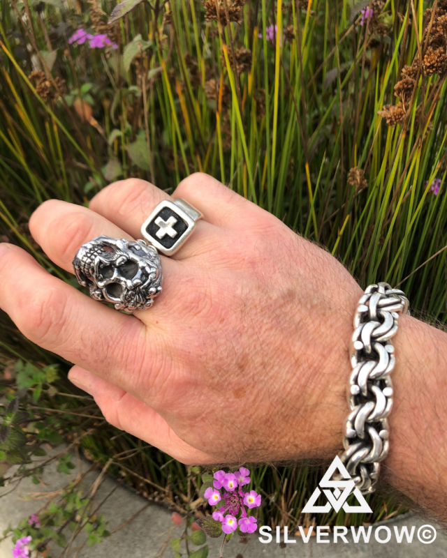 San Francisco based customer wearing our stunning Mexican Garibaldi Bracelet and Skull Ring | BY Silverwow