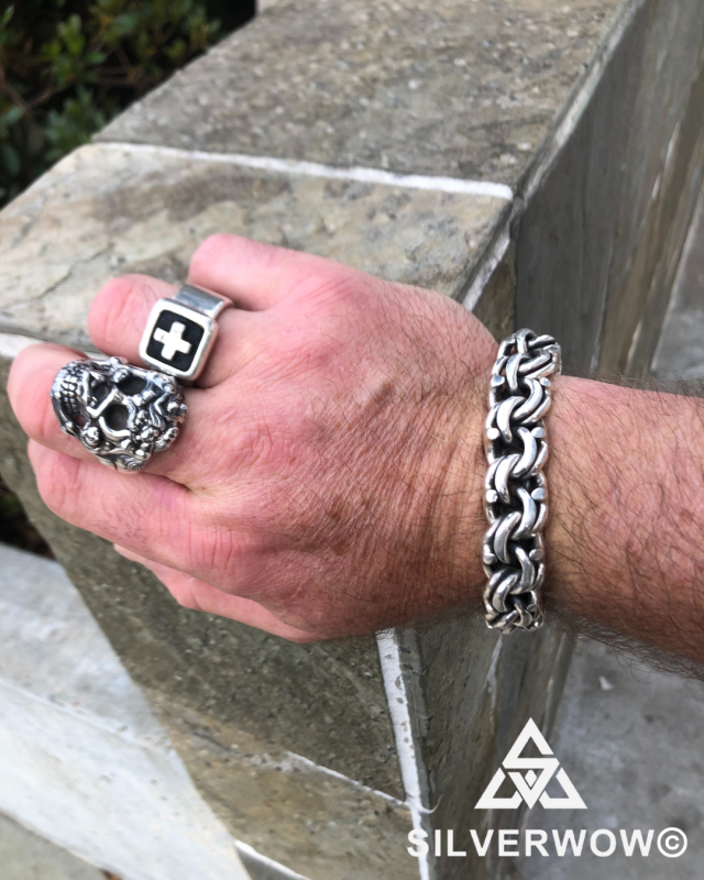 Thick, Chunky and High Quality Skull Ring and Mexican Garibaldi Bracelet for Men | BY Silverwow