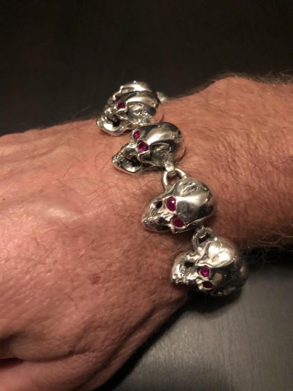 Wicked Silver Skulls Bracelet