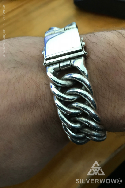Chunky, Very Solid, Beautifully Crafted Hoop Link Bracelet for Men | BY Silverwow