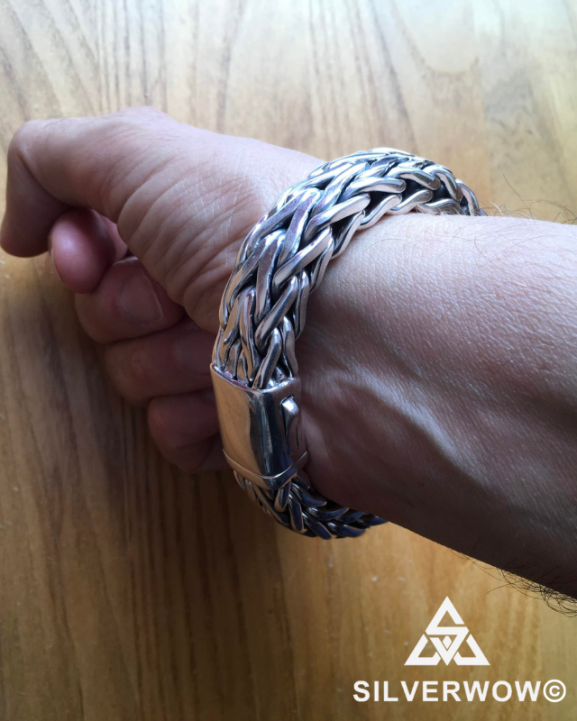 16MM Unique, Chunky Sterling Silver Rope Weave Bracelet for Men | BY Silverwow