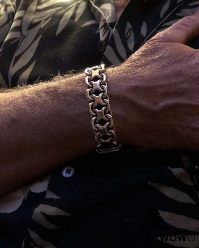 Ann with our 20MM Figure 8 Chunky Sterling Silver Bracelet | BY Silverwow