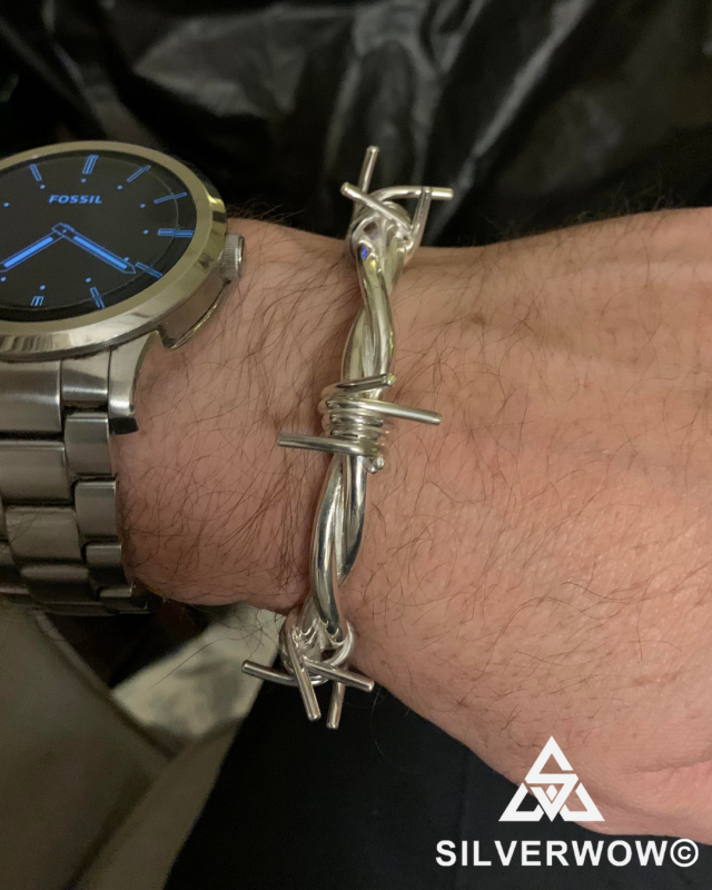 Paul with his Barb Wire Sterling Silver Bangle | BY Silverwow