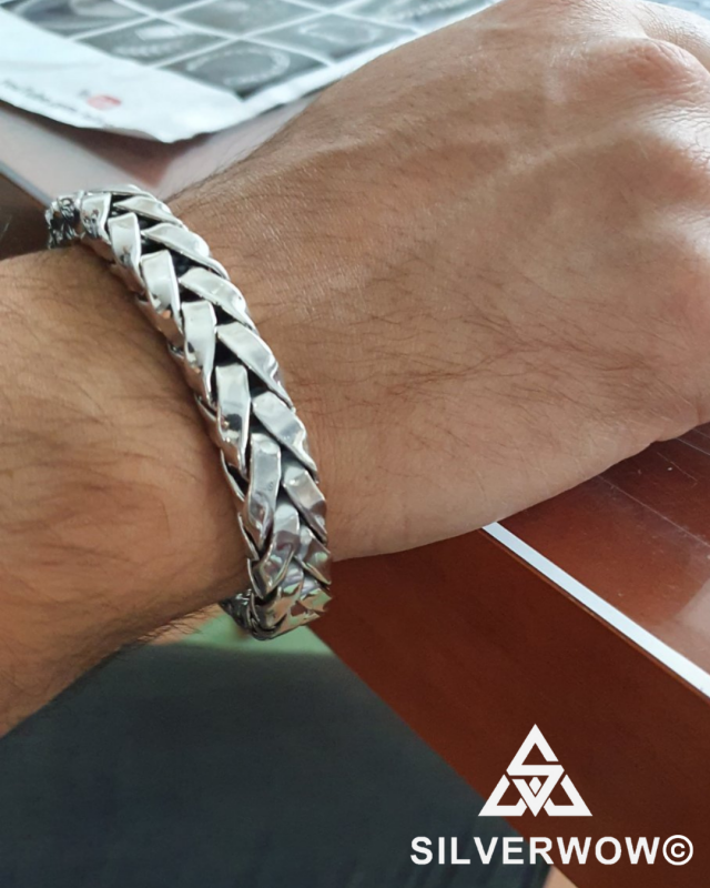 Thick, Chunky and Unique 10MM Square Braid Silver Bracelet | BY Silverwow