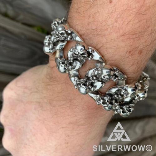 Heavy Cluster Skull Bracelet worn by Norbert