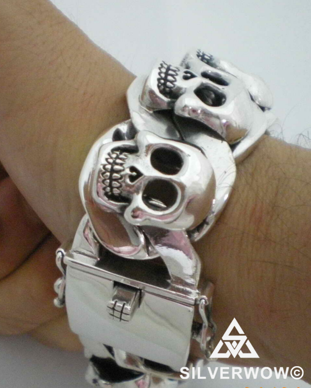 Thick and Heavy Skulls Bracelet for Men | BY Silverwow