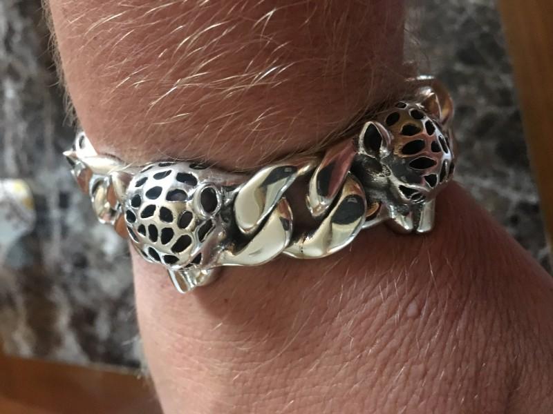 Leopard Head Silver Bracelet Chain