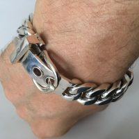 Mens Silver Buckle Bracelet - 15mm Design