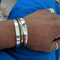ID Torque Bangle worn by a customer | Silverwow