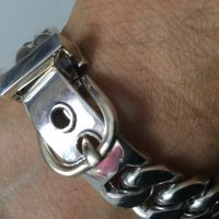 15MM Mens Silver Buckle Bracelet
