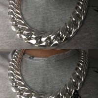 Customer wearing our 25MM Sterling Silver Cuban Link Necklace for Men | BY Silverwow