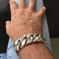 Huge Mens Silver Curb Bracelet