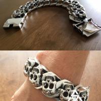 Chunky, Massive, All Big Skulls Sterling SIlver Bracelet for Men | BY Silverwow