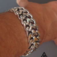 Super Chunky and Heavy Herringbone Bracelet for Men | BY Silverwow