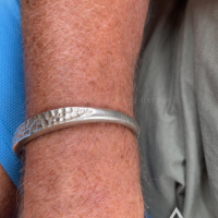 Julie with his Hammered ID Torc Bangle 10 mm80mm Diameter | BY Silverwow