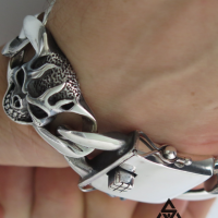 Super Chunky Skull Curb Bracelet for Men | BY Silverwow